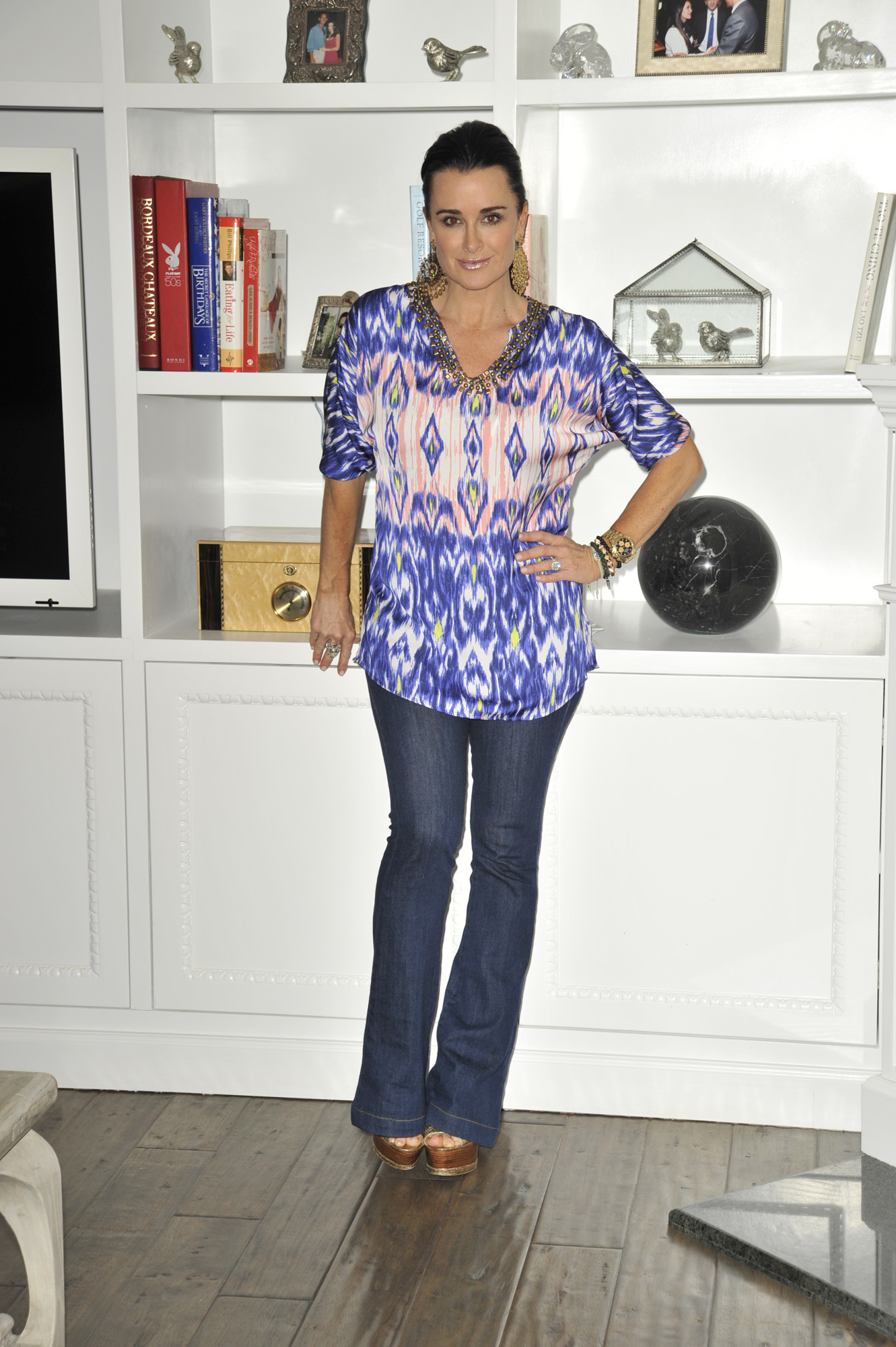 Kyle Richards in Belle gray by Lisa Rinna Ikat print top with embellishments on qvc.com[19].JPG