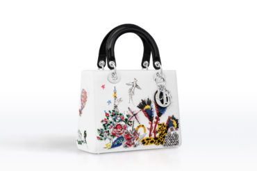 Lady Dior Bag in White Calfskin Embroidered With Feathers and Rhinestone. c936ad40b495d