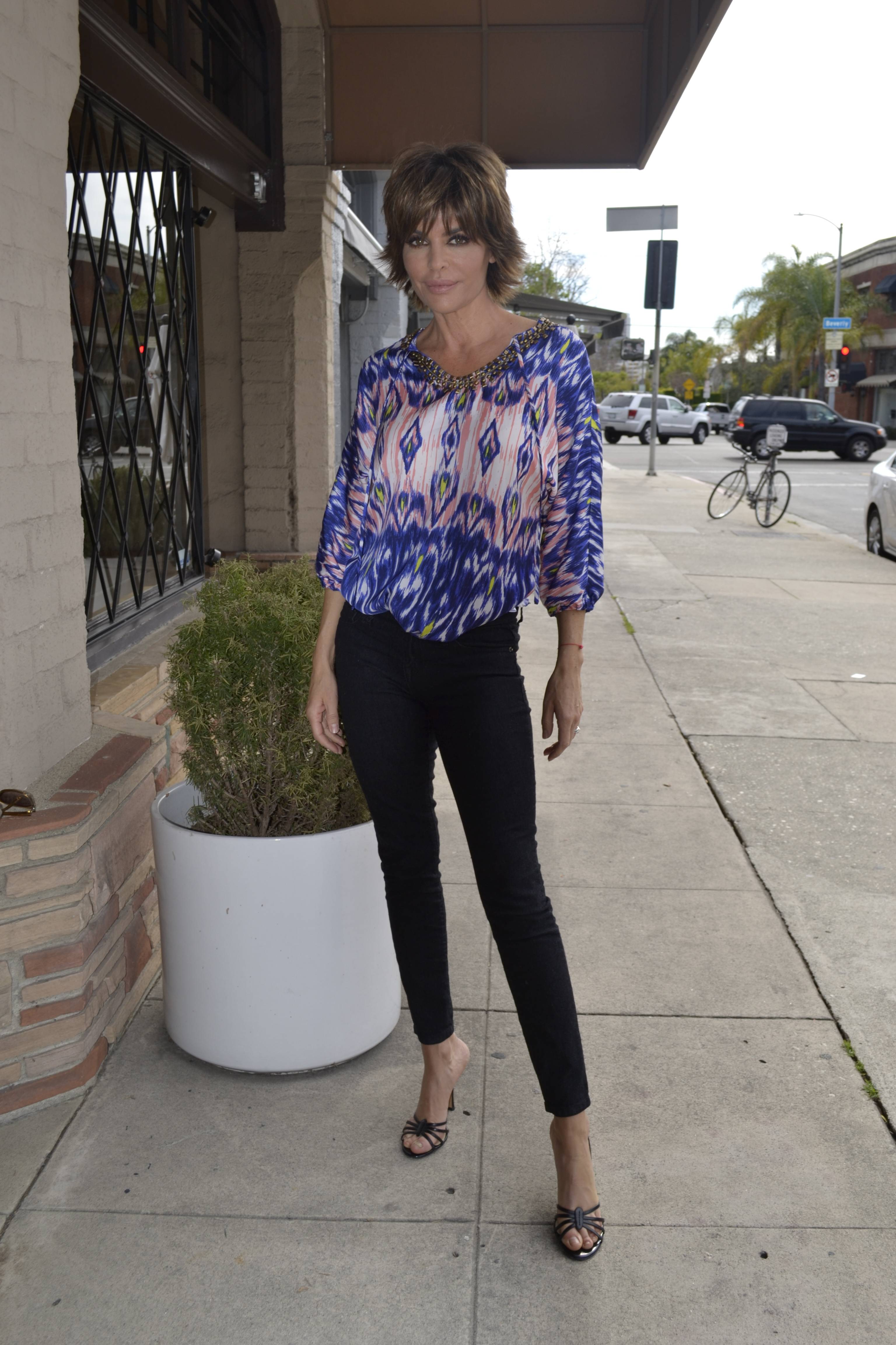 Lisa Rinna in Belle gray by Lisa Rinna Ikat print top with embellishments on qvc.com_. [19].jpg